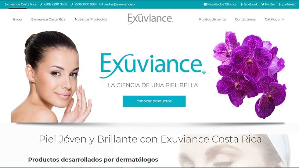 Website Exuviance Costa Rica