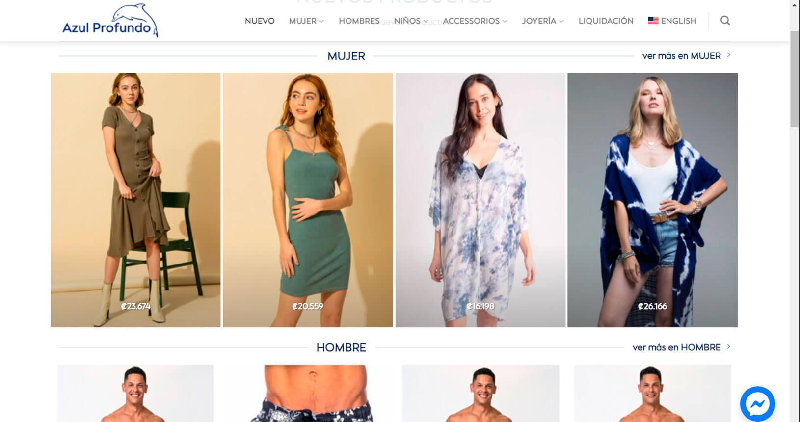 ecommerce para azulprofundoboutique.com
